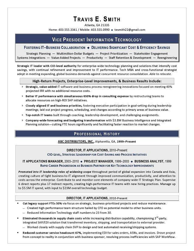 Vp Of It Resume Sample Page 1 Resume Writing Services Executive Resume Resume Writing