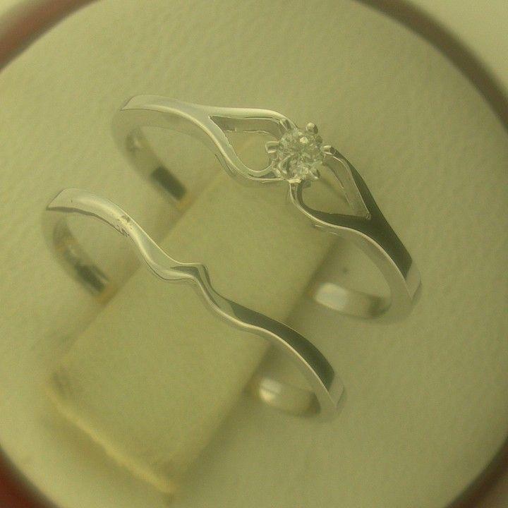 Genuine Diamond Engagement Ring Set With Matching Interlocking wedding Ring Set 10 kt White Gold from NYJewelz.com for $199 on Square Market