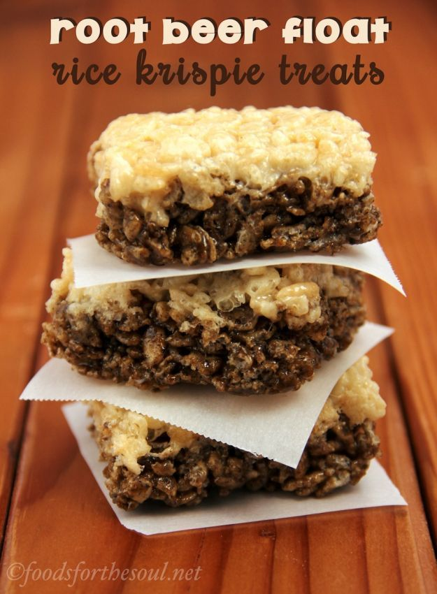 Root Beer Float Rice Krispie Treats   Fun And Tasty Dessert For Kids & Even Adults! by Homemade Recipes at http://homemaderecipes.com/course/breakfast-brunch/rice-krispie-treats/