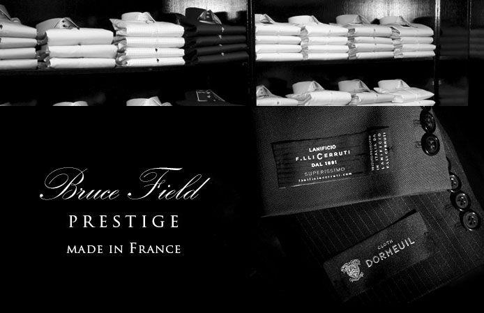 Costumes et chemises Bruce Field, confectionnés en France.