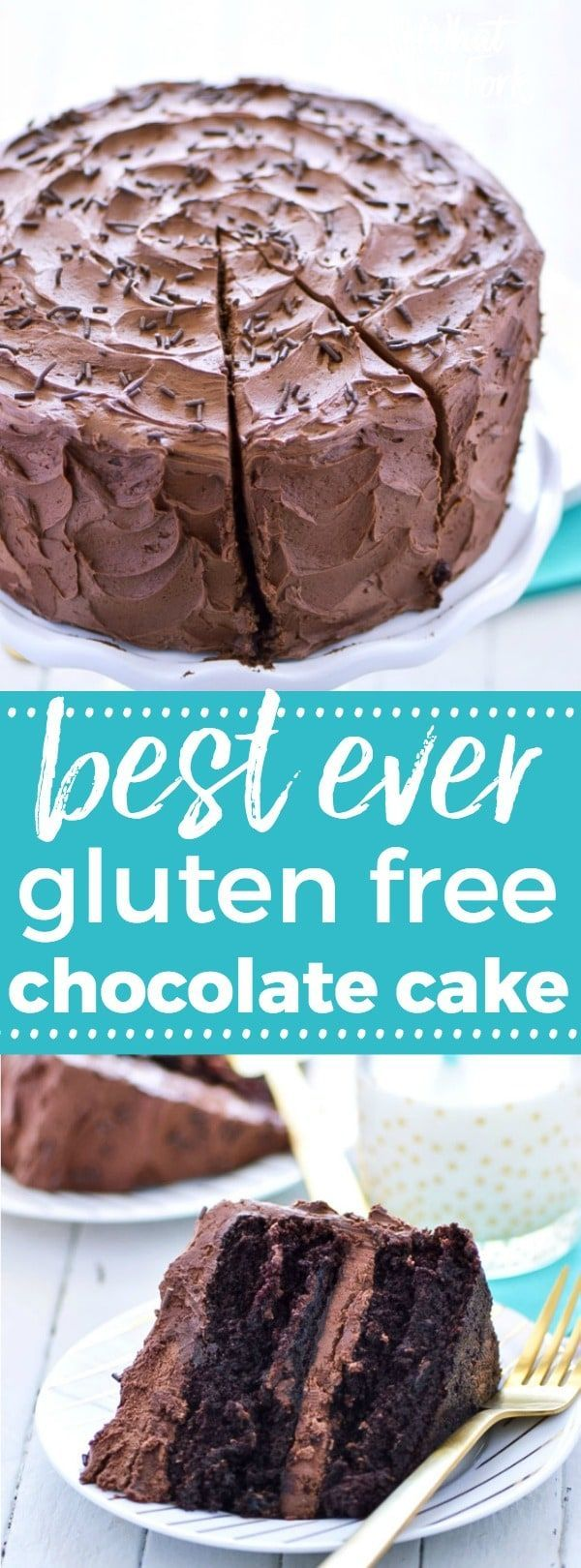 This is the BEST gluten free chocolate cake recipe out there! So moist, so rich, and so full of chocolate flavor! It's always the hit of the party! Recipe from @whattheforkblog   whattheforkfoodblog.com