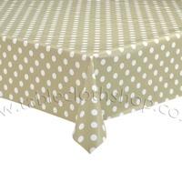 round Beige Polka Dot Vinyl Table Cover