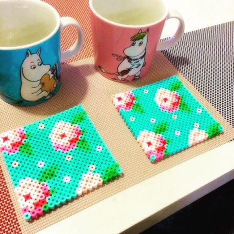 Cath Kidston pattern coaster set made from perler beads by jsbsbaello