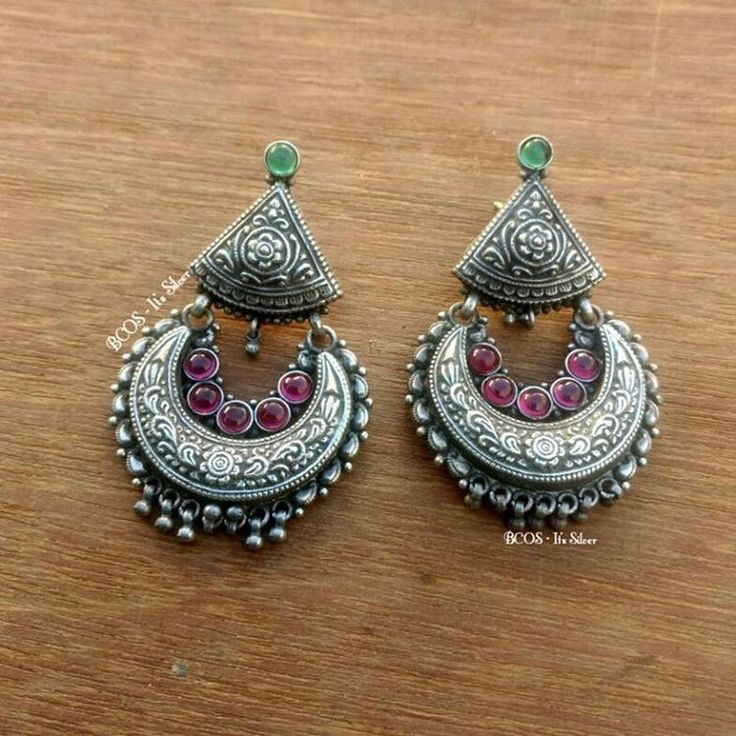 """123 Likes, 2 Comments - BCOS - Its Silver (@bcos_its_silver) on Instagram: """"No filter pic!! Pure silver chandbali Earrings with semi precious cab stones.. push back type..…"""""""