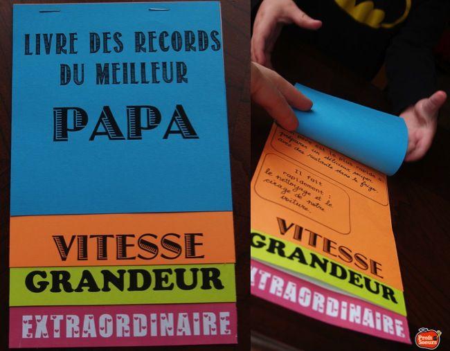 Livre des Records pour la Fête des Pères. GRATUIT!  (s'en inspirer)