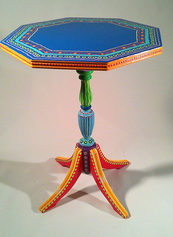 Hand Painted Furniture Vintage Colorful Table by LisaFrick on Etsy, $225.00