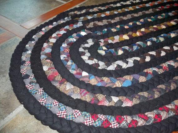 Handmade Braided Wool Rug Black Amp Multicolor By