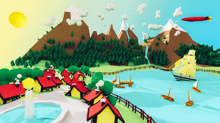 A sunny landscape, with a bit of mountain and lake.