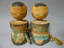 Pair of Japanese Vintage Wooden Kokeshi Nodder Doll 13.5cm / NARA Scenery