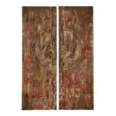 Woodland Imports 38503 Metallic Brown Canvas Art (Set of 2)