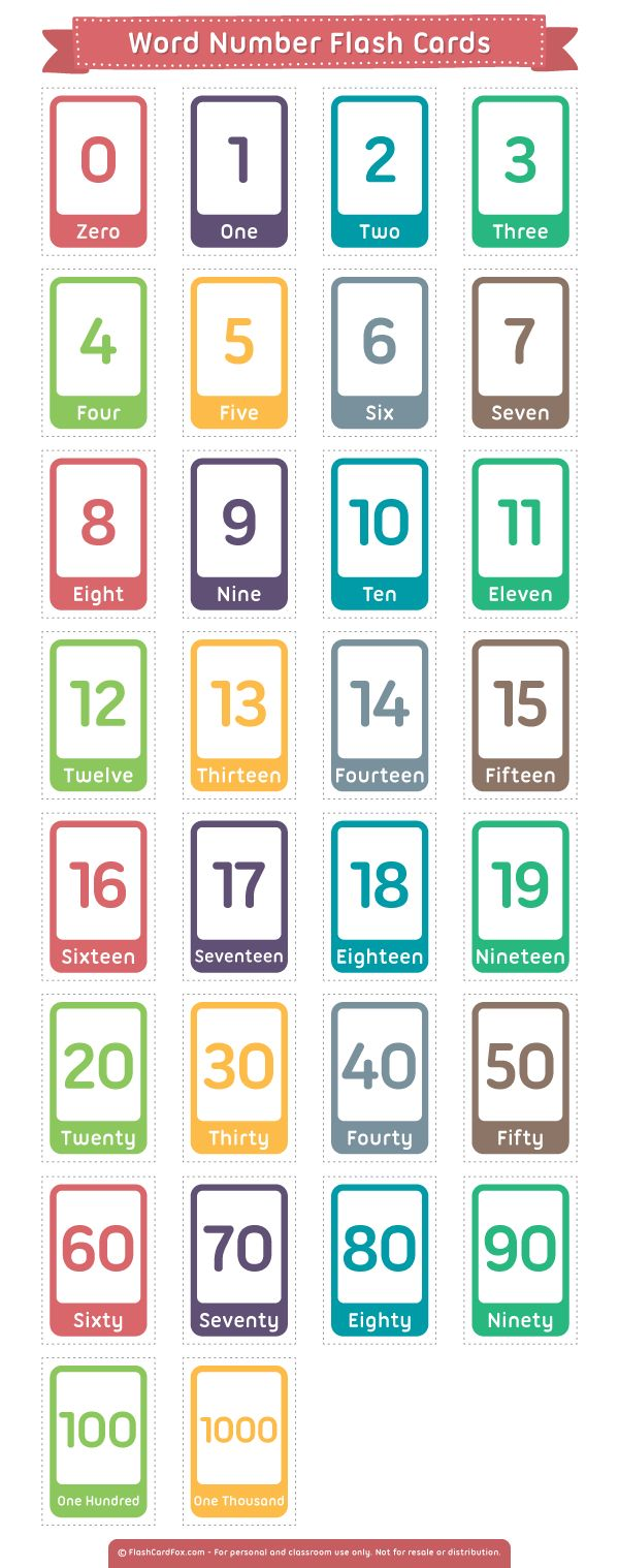 Free printable word number flash cards. Download them in PDF format at http://flashcardfox.com/download/word-number-flash-cards/