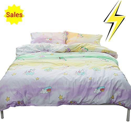 Best Girls Cartoon Unicorn Full Size Bedding Sets Queen Duvet 400 x 300