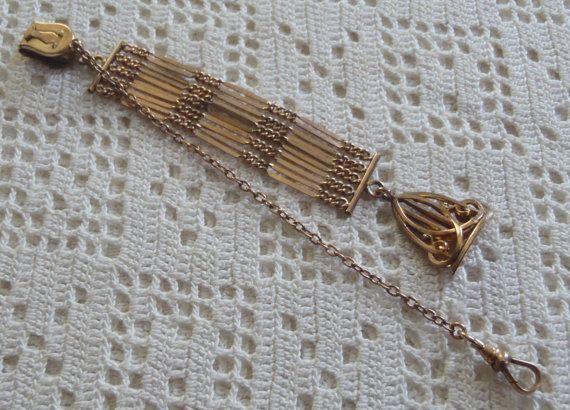 Урожай Vest карманные часы Цепочка с филигрань Seal от MariaMarrese