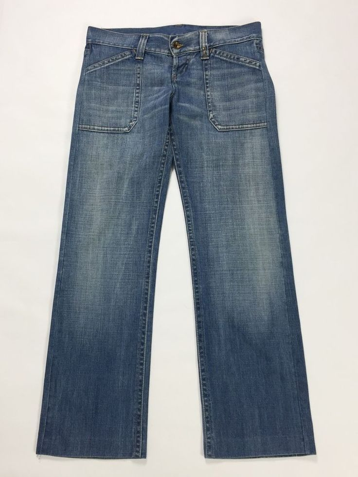 Gas hazeling work jeans W30 tg 44 loose gamba larga flare donna usato blu T1352