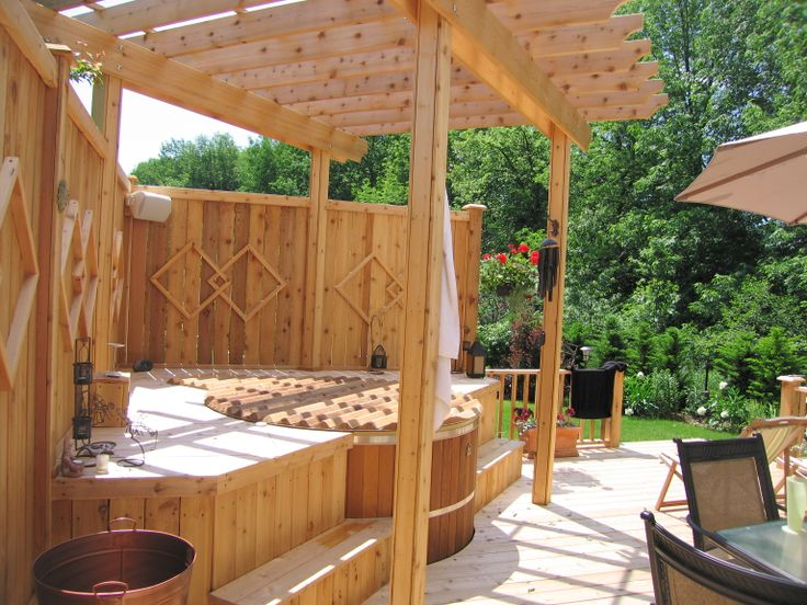 Easy Pool Deck W Privacy Screen: 15 Best Images About Building A Cedar Hot Tub In A Deck On