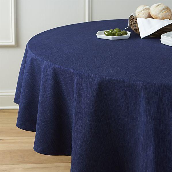 "Linden Indigo 90"" Round Tablecloth | Crate and Barrel"