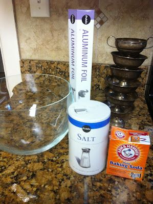 Homemade silver cleaner- just used it and totally worked in 5 minutes! Awesomeness!
