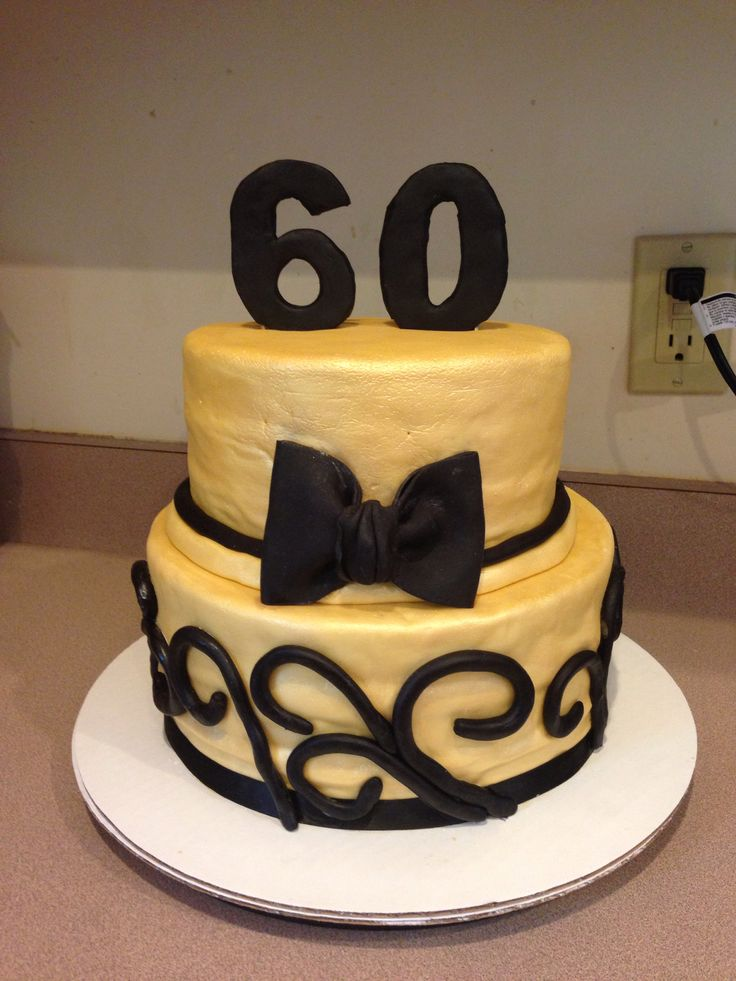 60th Birthday Cake Black And Gold Bow Tie Theme Birthday