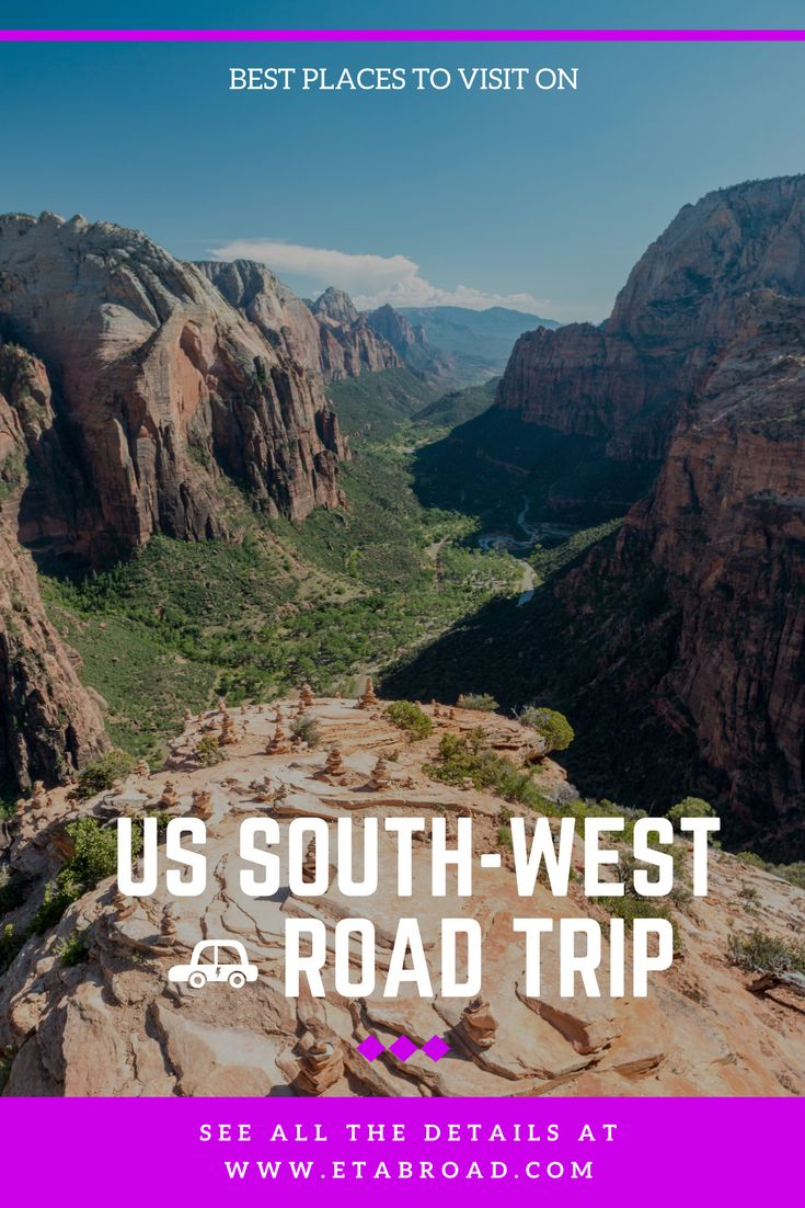 List of 14 best places to visit on 14 days road trip around South-West USA.