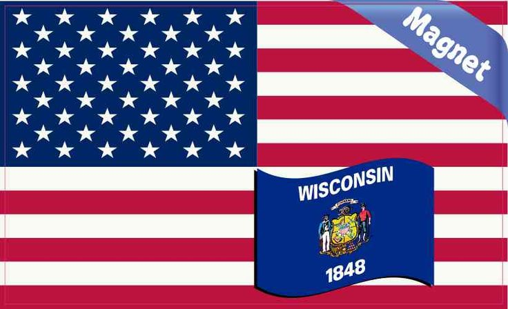 5in x 3in America and Wisconsin Flag Magnet Vinyl Magnetic Decal Magnets