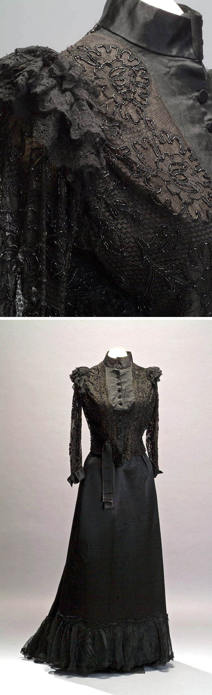 Dress, circa 1890s. Silk satin, lace applications, beads, and silk chiffon. Via Museum of Mexican History.