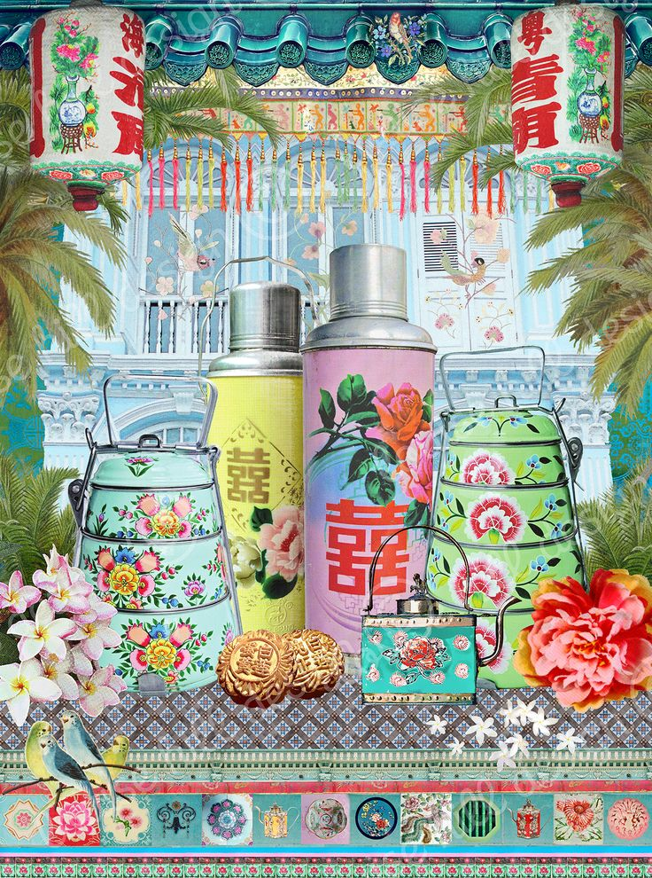 "SINGAPORE SHOPHOUSE ""My 'Singapore Shophouse' print was created as a fun and vibrant representation  of the famous and much cherished heritage shophouses dotted around the city. I incorporated the Peranakan colour palette into the design with the use of various detailed vintage beaded and embroidered fabrics, tiles, tea flasks and tiffin carriers that I have collected over time and photographed."" Louise Hill"