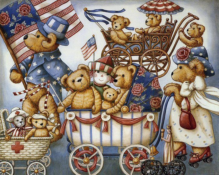 Teddys & Toys by Nita Showers - Teddy Bear Wallpapers - Teddy Bears of Independence Day - Vintage Teddys & Toys Wallpaper 7