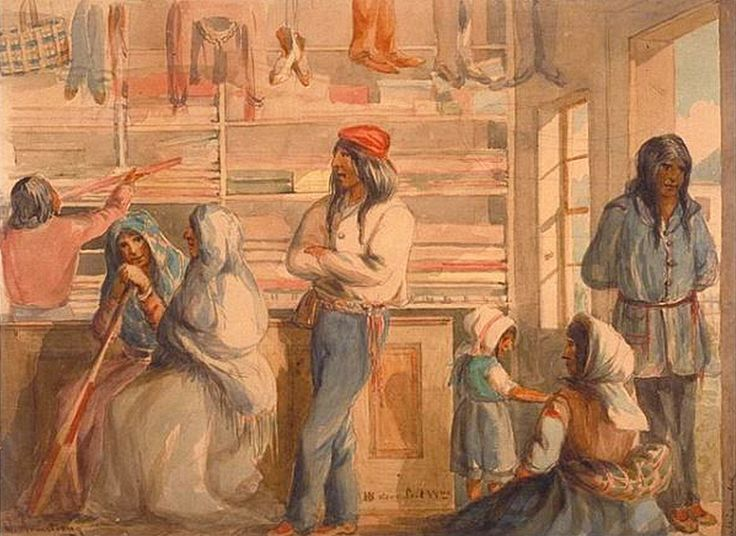 Inside of the Hudson's Bay Company trading post at Fort William, Ontario ca1860-70, watercolour by William Wallace Armstrong. Fort William was the old headquarters for the Northwest Company until 1821.