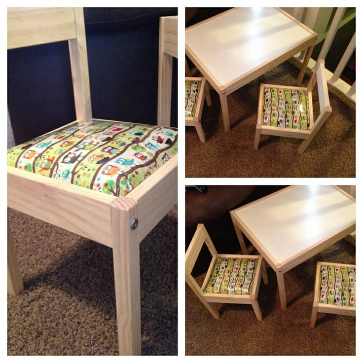 IKEA Kids Table ($19.99)  Added: Padding, to make it comfy. Fabric, to make it cute. Plastic, to make it wipeable.