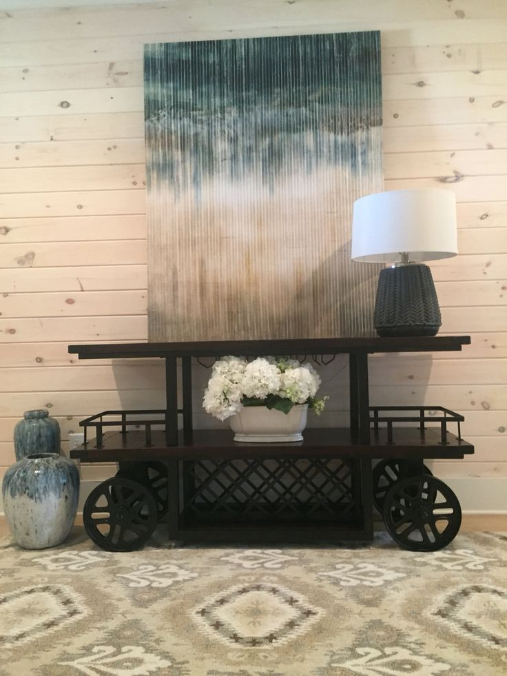 Inverted Canvas , Brevyn Lamp, Wayne Bar Cart , Jakarta Rug , And Azule  Vases