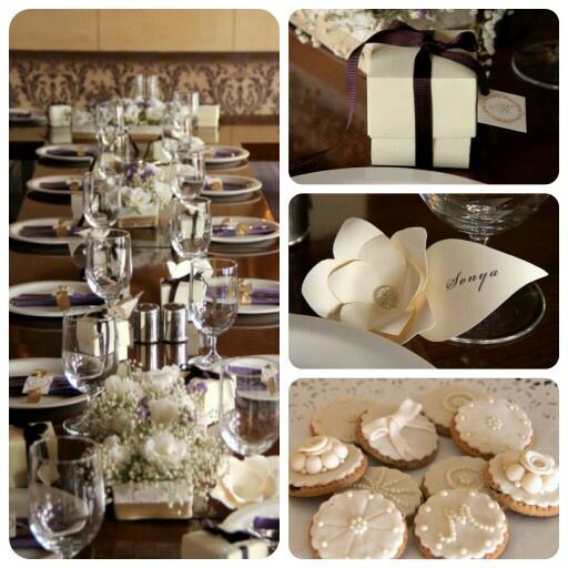 Elegant Bridal Shower table decor & place cards & favor box & cookies