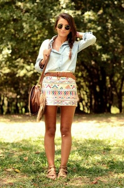 Indian skirt, denim shirt, round sunglasses, brown crossbody bag, leather bag