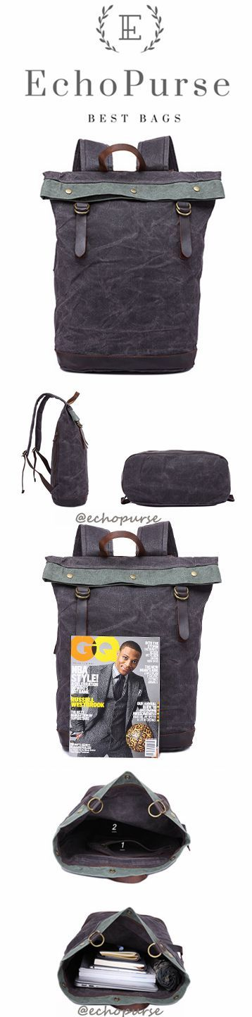 Oil Wax Leather And Canvas Backpack, Grey Vintage Waterproof Travel Backpack YD325