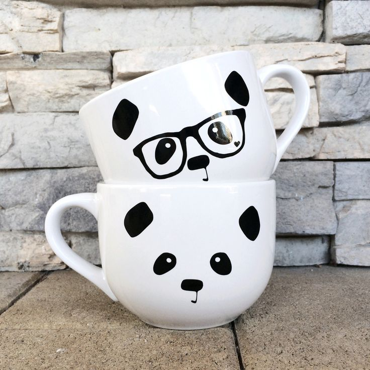 Panda Face / Nerdy Panda Ceramic Soup Mug (White) / Steppie Clothing  These are..SOO cutee!! I want it!!