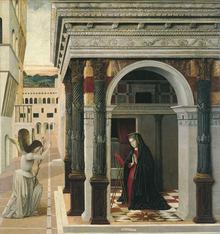 Bellini, Gentile - Благовещение, ок. 1475, 133 cm x 124 cm, Дерево, смешанная техника. Коллекция Музея Тиссена-Борнемиссы, Мадрид.