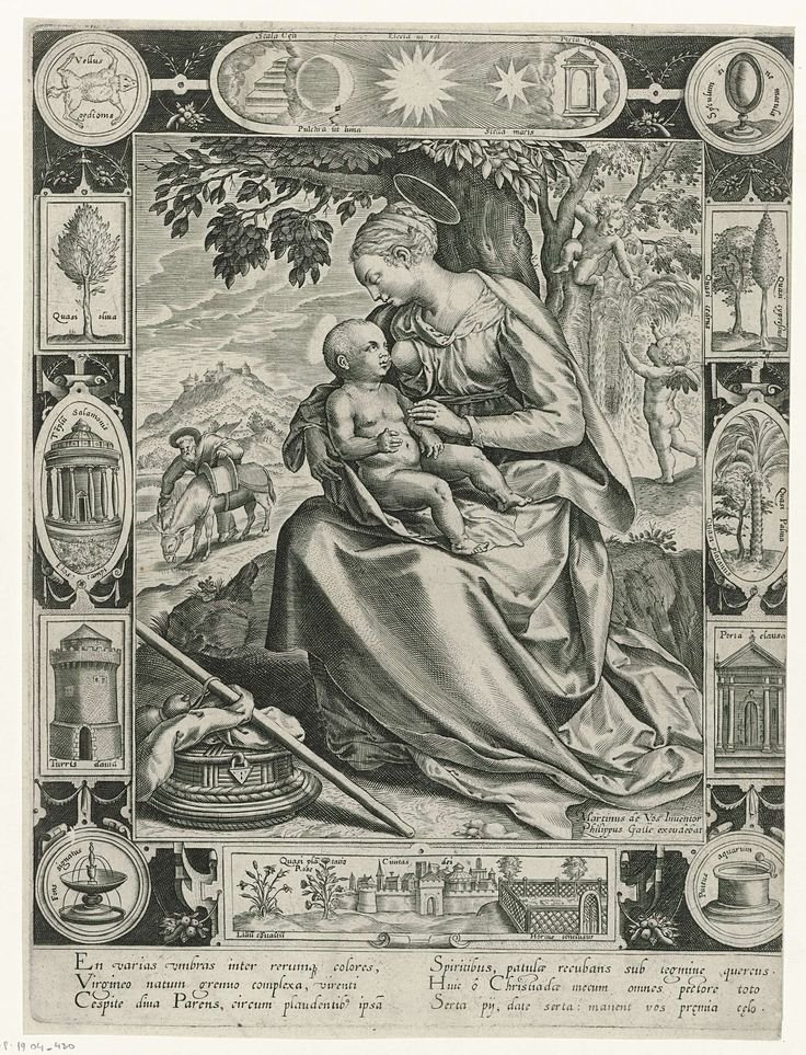 Anonymous | Rest on the Flight into Egypt, Anonymous, Philips Galle, 1547 - 1622 | De vlucht naar Egypte. Maria zit tegen een boom en geeft het Christuskind de borst. In de achtergrond Jozef en de ezel. Rechtsboven verzamelen twee putti fruit voor het Christuskind. De afbeelding heeft een rand met twaalf Bijbelse deviezen. De prent heeft een Latijns onderschrift.