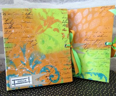 Note book by Gemma made using stamps and stencils from The Artistic Stamper #artisticstamper #notebooks #create #dylusions #stamping