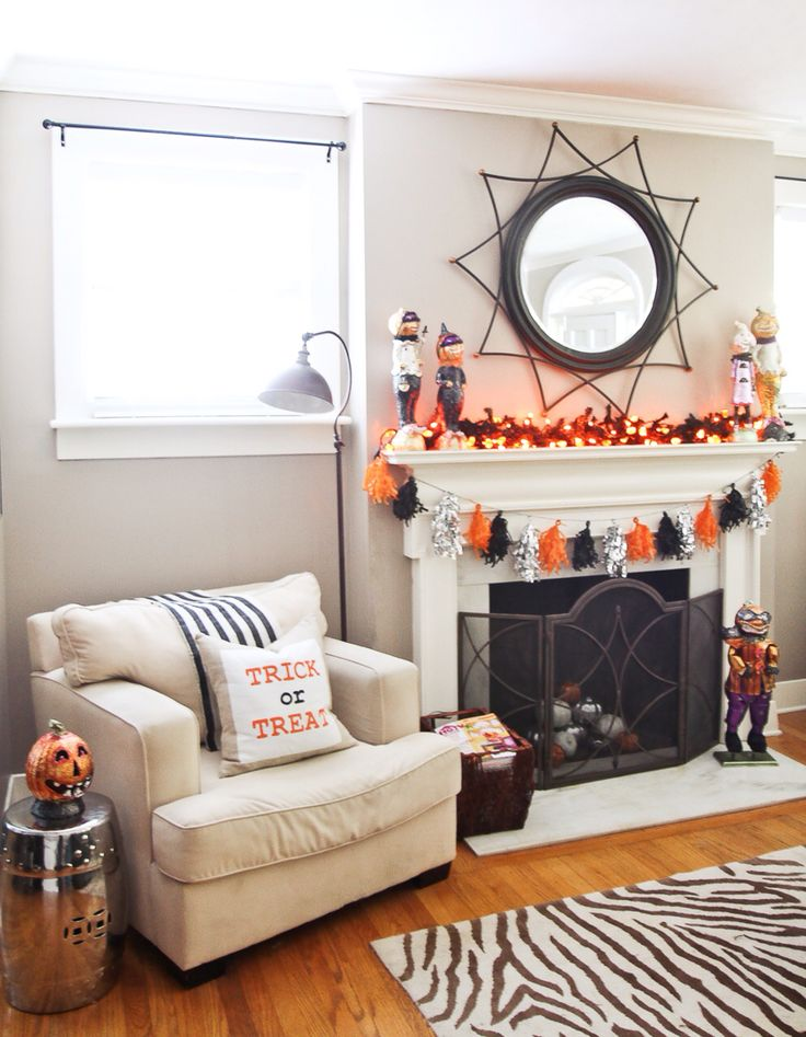 Halloween decor tassel garland metallic orange black - Black and orange living room ideas ...