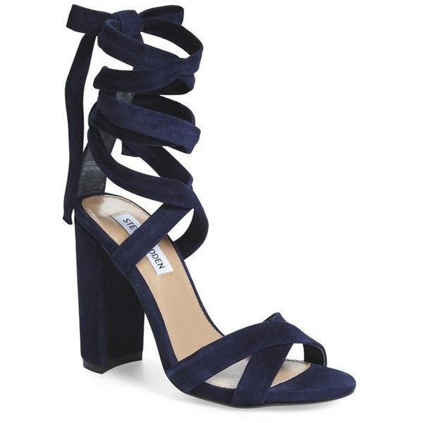 """Steve Madden 'Christey' Wraparound Ankle Tie Sandal, 4"""" heel ($110) ❤ liked on Polyvore featuring shoes, sandals, navy suede, ankle strap sandals, wrap sandals, navy blue shoes, navy sandals and wrap around sandals"""