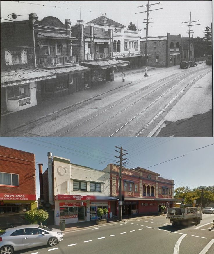 Victoria Road, Gladesville in 1938 and 2014. [1938 - Ozroads/2014 - Google Street View. By Phil Harvey]