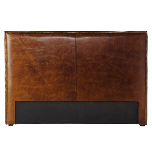 Testata da letto marrone in cuoio effetto anticato L 160 cm
