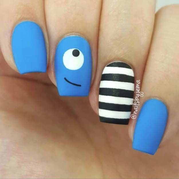 Easy Nail Art Designs - Blue Monster Nails - Step By Step, Simple Tutorials For Beginners For Summer, Fall, Spring, and Winter. Ideas For Nailart For Kids, For Toes, DIY, And Classy Ring Finger Ideas With Glitter. Also Some Great Ideas For Flowers, Paint, Stripes, And Black Nails - https://www.thegoddess.com/easy-nail-art-design