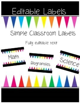 Classroom Label Set featuring fully editable text. Font featured: Monica's Calm Afternoon(https://www.teacherspayteachers.com/Product/Monicas-Calm-Afternoon-Font-for-Personal-and-Commercial-Use-1844184)