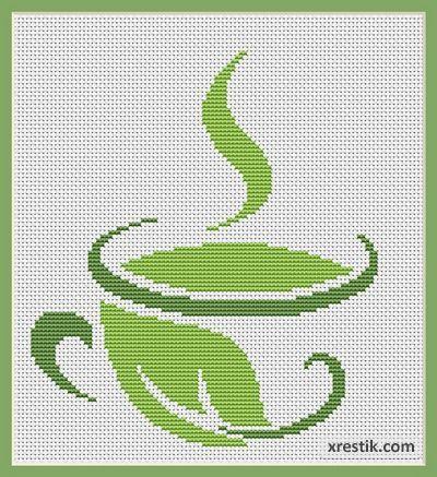 Схема вышивки крестом чай | Cross stitch patterns tea