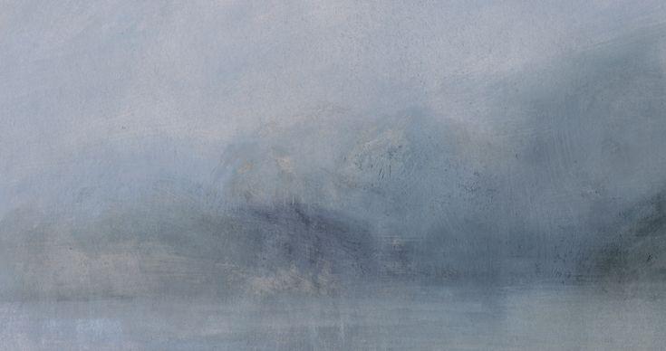 Nicholas Herbert, British artist - Landscape L984 Lake Garda Series, Shoreline from Torbole, contemporary mixed media painting