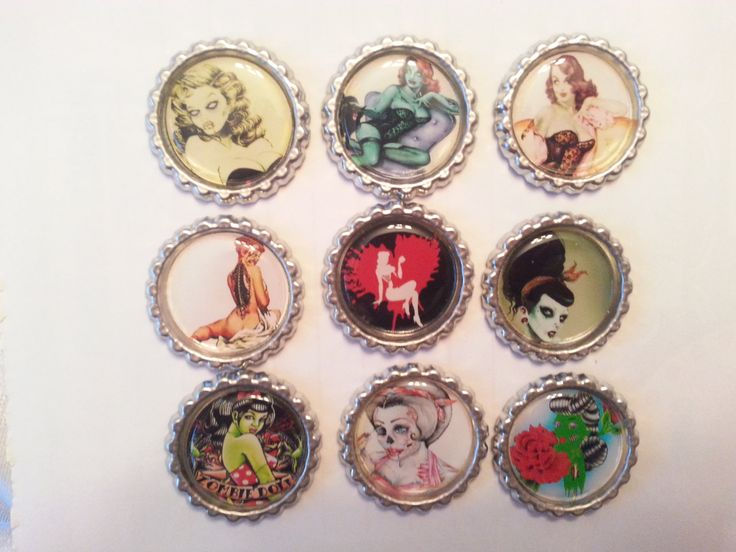 Zombie Pin Ups- Zombies- Zombie Pin Up Bottlecap Magnets- Bottlecap Magnets- Rockabilly- Psychobilly- Rockabilly Zombie Pin Ups- Magnets (3.25 USD) by CaliAnnsCreations