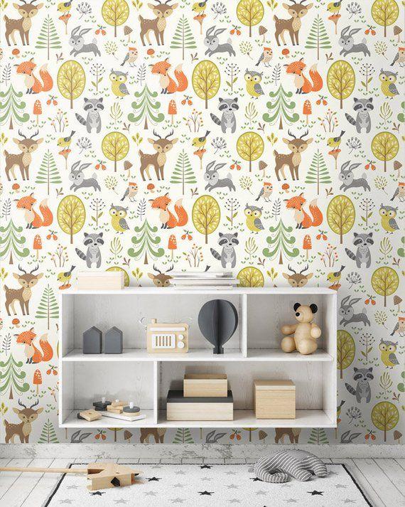 Woodland Animals Wallpaper Forest Animals Repositionable Etsy Kid Room Decor Kids Room Wallpaper Kids Room Deco