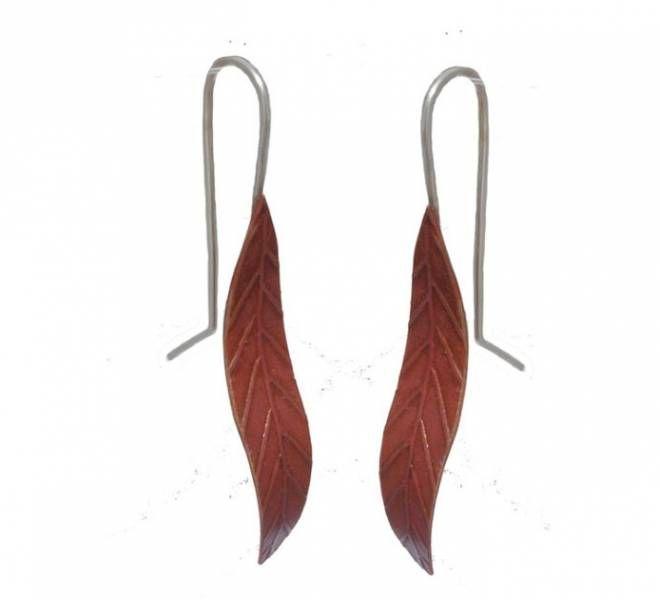 Copper leaf earrings - small by New Zealand jewellery designer Nick Feint, Stone Arrow.
