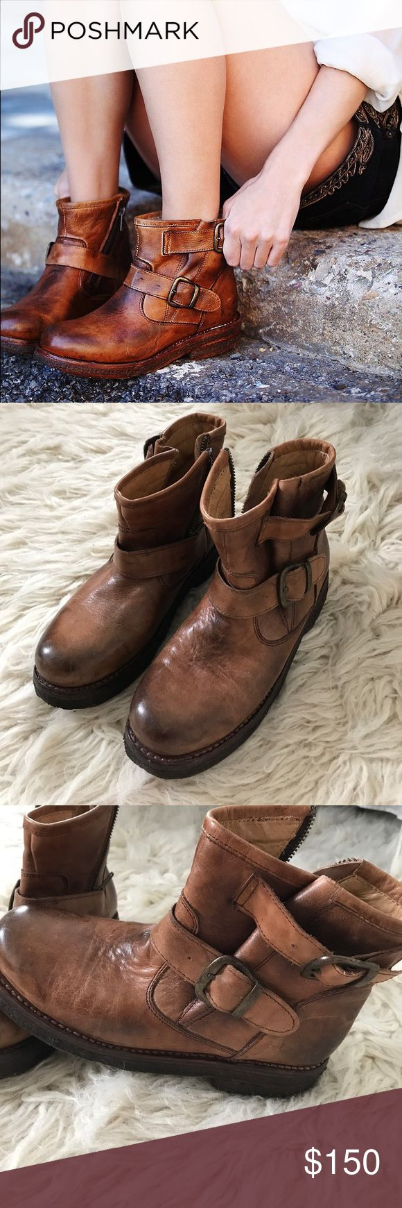 Free People Bed Stu brown ride boots Made by Bed Stu, this cool boots are so amazing. Well made handcrafted boots with antique leather look.  Great with dress or jeans. Very good condition. Free People Shoes Ankle Boots & Booties