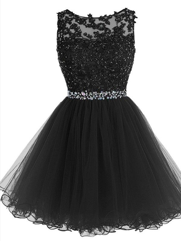 A-Line/Princess Scoop Sleeveless Beading Short/Mini Tulle Dresses